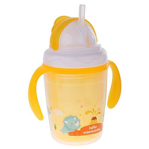 MagiDeal Portable Infant Trinklernflasche, Trinktülle mit Trinkhalm - Orange -