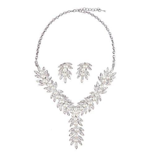 Kostüm Designer Damen Einzelne (Hamer Damen Blätter Kristall Blumen Statement Choker Halskette und Ohrringe Sets für)