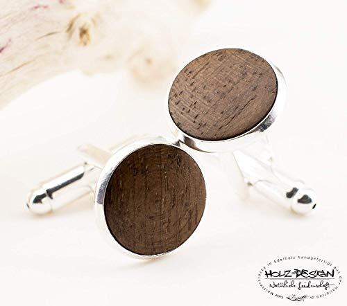 Herren Manschettenknöpfe Holz Braun-Silber Herren Schmuck zur rustikalen Landhochzeit Geschenk für Männer Holz Handgemacht