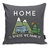 QMS CONTRACTING LIMITED Throw Pillow Cover Camping Home is Where We Park It Campervan Gift Decorative Pillow Case Home Decor Square 18x18 Inches Pillowcase