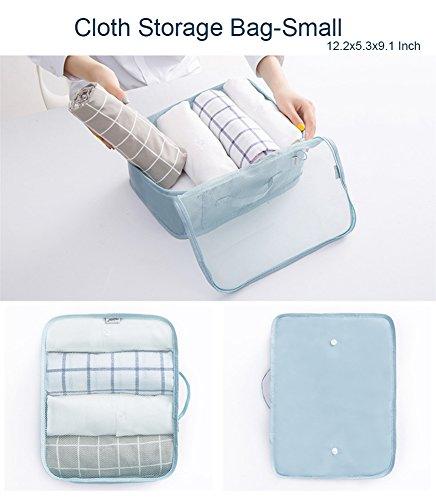 Belsmi Reise Kleidertaschen Set 8-teilig Reisetasche in Koffer Reisegepäck Organizer Kompression Taschen Kofferorganizer Mit Schuhbeutel (Weiß Flamingo) Navy blau Feder