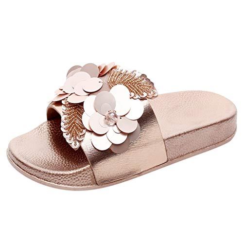 NPRADLA Flip Flop Sandalen Sliper Zehentrenner Damen Frauen, Flache Dias Diamante Sparkly Sliders Pailletten Blume Hausschuhe Schuhe(36,Gold)
