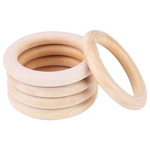 10pcs anneau de dentition en bois naturel bébé anneau de dentition infantile, collier en bois collier artisanat bricolage