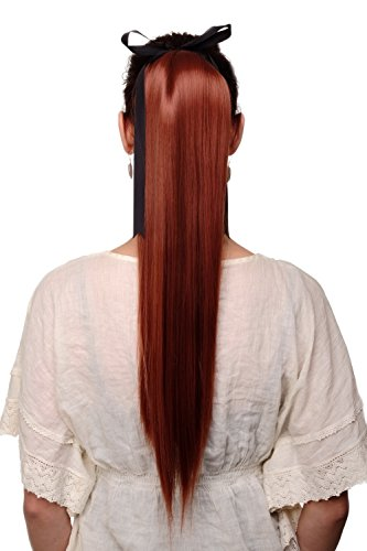 WIG ME UP ® - Extension natte queue de cheval rouge cuivré lisse tombante maintien avec bandelette et pinces env. 60 cm C9429-350