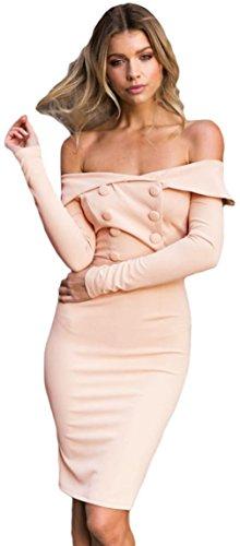 La Vogue Robe Midi Moulant Slim Épaule Nue Manche Longue Double Boutons Rose