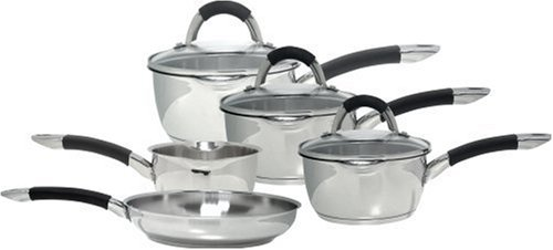 Ready Steady Cook Bistro 5-Piece Stainless Steel Cookware Set, Silver and Black