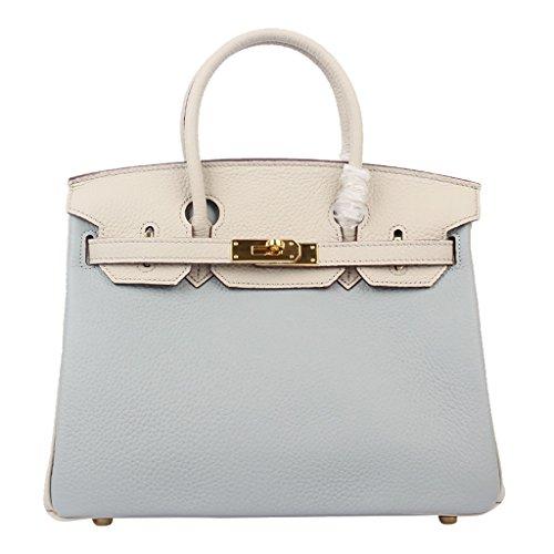 Mena UK Vintage Fibbie Vintage Stile Style Litchi modello morbido primo strato di Borsa Tote in pelle borse a tracolla Taglia Grande e Piccola Dimensione Gray blue