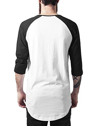 Urban Classics Herren T-Shirt Long Raglan 3/4 Sleeve Pocket Tee Mehrfarbig (wht/blk 224)