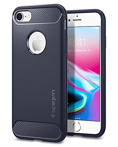 iPhone 7 Hülle, Spigen® [Rugged Armor] Karbon Look [Schwarz] Elastisch Stylisch Soft Flex TPU Silikon Handyhülle Schutz vor Stürzen und Stößen Schutzhülle für iPhone 7 Case Cover - Black (042CS20441) RA Midnight Blue