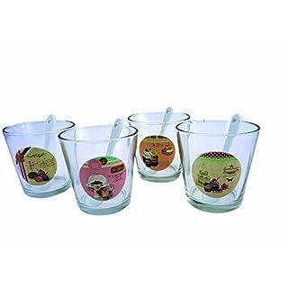 Aulica 508001 4-Eisschalen/Fruit/Löffel, im Glas, Weiß
