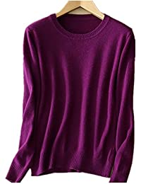 Guozi Women s Round Neck Cashmere Knitwear Long Sleeve Pullover Blouse  Solid Color Jumper Tops Knitted Sweater 0072ead17