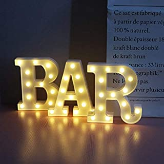 BAR - Illuminated Bar Sign Lighted LED Marquee Word Sign - Pre-Lit Pub Bar Sign Light Battery Operated
