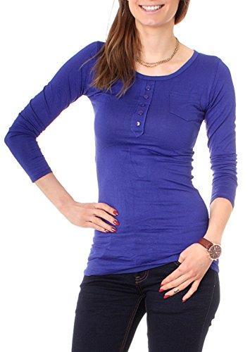 Easy Young Fashion Damen Longshirt Knopfleiste Slim Fit Royal
