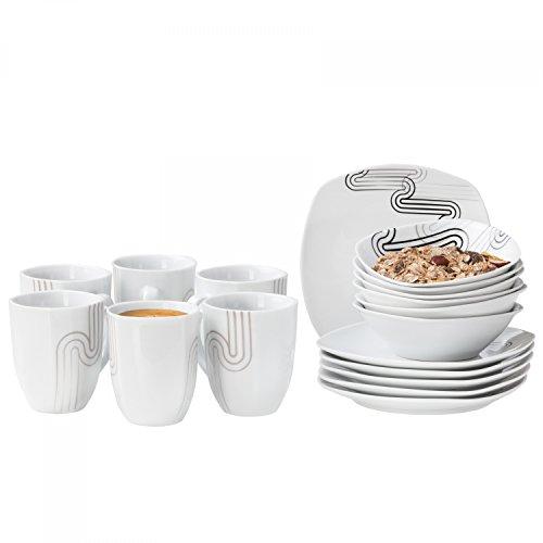 Van Well Frühstücksservice Costa, 18tlg. Set: 6 Kaffeebecher + 6 kleine Teller + 6 Müslischalen,...
