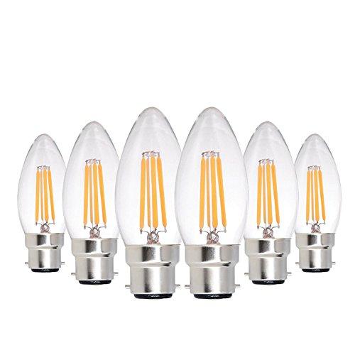 Genixgreen C35 LED Kerze Glühbirne B22 4W Warmweiß 2700K 400 Lumen Bajonett B22-Sockel Vintage Edison LED Kerze Glühlampe wie 40W traditionelle Glühbirne,Nich-dimmbar,6er-Pack (warmweiß 2700K) (Bajonett-sockel)