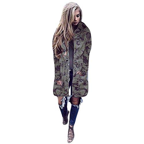 Windbreaker Damen Camouflage Btruely Herbst Lang Mantel Lose Hooded Jacket Outwear (M, Camouflage)