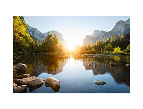 deinebilder24 - Kunstdruck Leinwand Keilrahmen - 70 x 90 cm - Yosemite-Tal Sonnenaufgang, USA