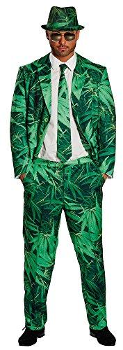 Karnevalskostüm Hanf Cannabis-Anzug in grün | Größe 56 | Herren-Anzug