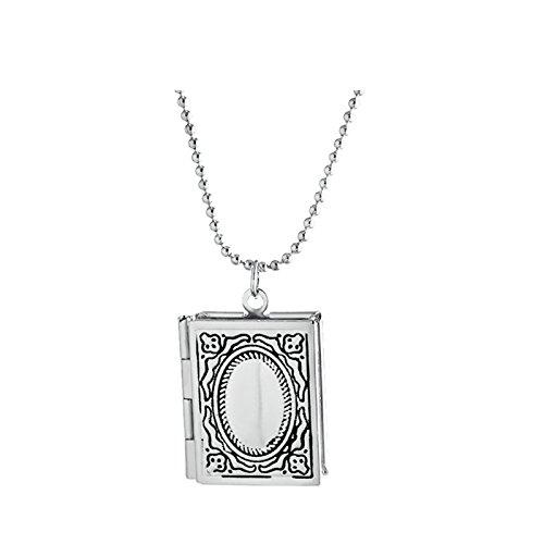 Daesar Edelstahl Kette Quadrat Anhänger Halskette Kette Foto Medaillon zum Öffnen Photo Bilder Amulett für Damen Mädchen Silber Kette Länge 40cm