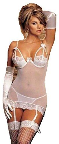 er Mesh Bügel Tiefer offener Rücken Strumpfband Chemise Nachtwäsche Babydoll Dessous Unterwäsche Stripper One Size UK 10–12EU 38–40 (Sheer Baby Doll)