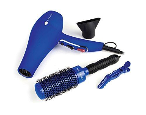 Corioliss Flow Blue Pack - Secador profesional + cepillo redondo con mango de goma + 4 pinzas clips con bisagras dobles, color azul