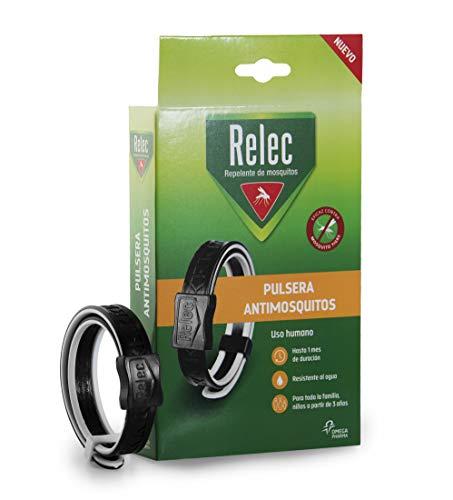 Relec Pulsera Antimosquitos Ajustable y Multitalla, Brazalete Repelente para Adultos y Niños, Resistente al Agua y con 1 Mes de Protección - 1 Unidad, Negro