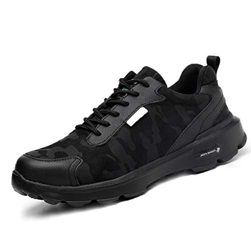 Zapatos de Seguridad Hombres con Punta de Acero Zapatillas de Trabajo Calzado Ultra Liviano Reflectivo Transpirable Ligeros Negro Camo 36-48 BK38