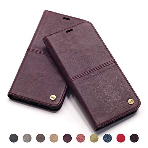 QIOTTI - iPhone XS I iPhone X Tasche Leder Case I RFID NFC Schutz I Ledertasche Kartenfach Standfunktion Echtleder Hülle Lederhülle Ledercase Handyhülle Echtledertasche in Lila