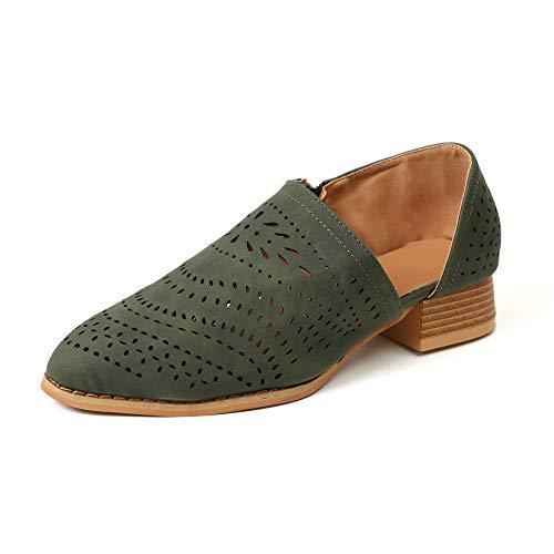 Zapatos de Vestir Mujer Planas Derby Transpirable Oxford Casual Fiesta Sandalias Primavera Verano Calzado Tacón 3cm Verde 43