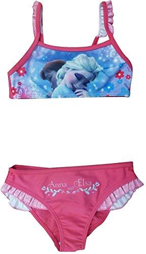 NEUE Girls Disney Frozen Anna Elsa Schwimmen Kostüm / Bikini / Bademode (8 Jahre (128 cm), Rosa)