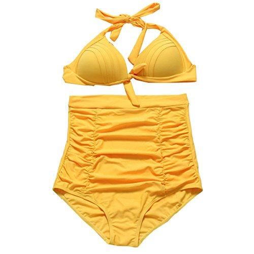 KUWOMINI.Bikini Europa Zu Erhöhen Punkt Hohe Taille Badeanzug Sammeln Badeanzug Yellow