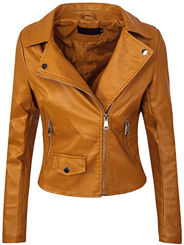 Rock Creek Selection Damen Biker Jacke Lederjacke D-271 [PU-2221B Camel 36]