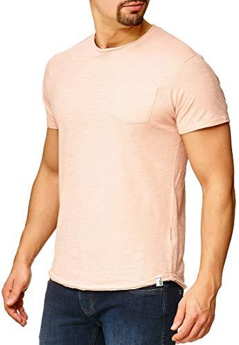 Indicode Herren Willbur Herren T-Shirt Kurzarm Shirt mit Rundhalsausschnitt 30 Farben S-3XL Cameo Rose Pocket 3XL -