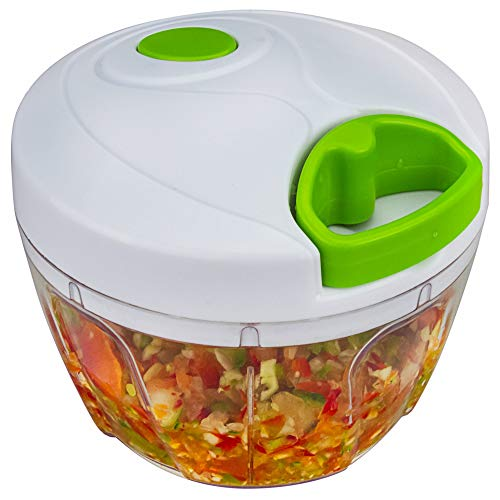 Bignay Plastic Chopper Gemüseschneider, Manuelle Küchenmaschine Gemüse Chopper, Mixer, Mixer für Knoblauch, Zwiebel, Kräuter mit 3 scharfen Klingen für Salsa, Salat etc