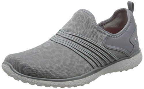 Skechers Damen Microburst Under Wraps Leopard-Druck-Slip-on Schuhe - Grau, Grau, 38 - Sportliche Slip Wrap