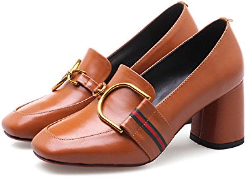 H&H® Schuhe Aus Leder Pumps Alle Treffer Square Grobe Schuhe mit Pendler - Besetzung Schuhe