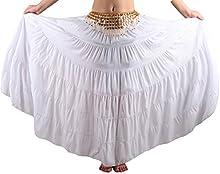 Seawhisper® Falda Bohemia Maxi Larga Gitano Tribal para Danza del Vientre Verano Playa con Cinturón de Monedas Doradas,8 yardas /16 yardas, Algodón/Lino