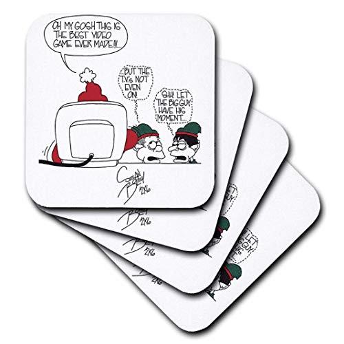 3dRose Reichhaltige Diesslins Cartoon Days of Christmas tcdc-Sean Boley Cartoon über Santa und Video Spiele für Weihnachten-Untersetzer, Gummi, set-of-4-Soft (Video Cartoons)