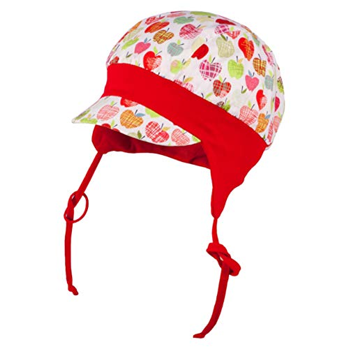 Galeja Tutu Mädchen Mütze Babymütze rot 36-38 Bindemütze UV-Schutz 50+ Sommermütze Erstlingsmütze (Mit Bandana Hut)