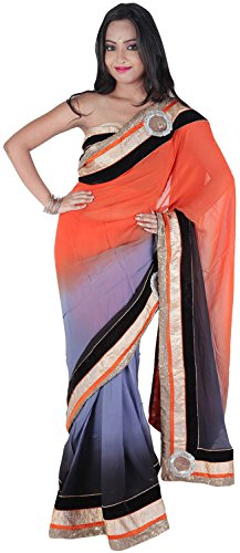 Rajwada Sarees Georgette Saree (D-2024_Orange & Black)