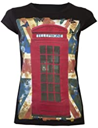Womens T-Shirt Ladies Tops Red Glitter Phone Box London Souvenir Union Jack Flag Butterfly Souvenir Tops Black