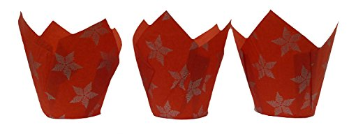 Scrumptious Sprinkles Christmas Star Tulip Muffin Cases, Red x 50