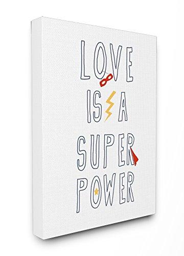 The Stupell Home Décor Collection Love is a Superpower Cape und Maske, gerahmt, Giclée-Motiv, Canvas, Mehrfarbig, 40.64 x 3.81 x 50.8 cm -
