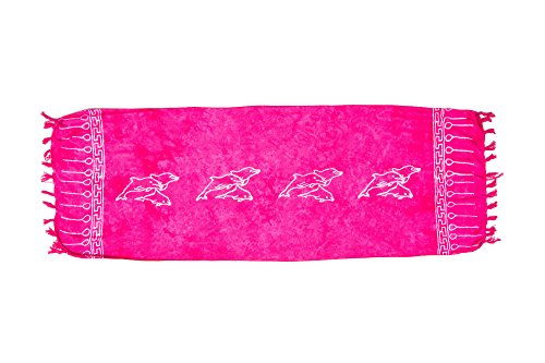 ManuMar Damen Sarong | Pareo Strandtuch | Leichtes Wickeltuch mit Fransen-Quasten Mini-Rock 55x155 cm Pink Delfin