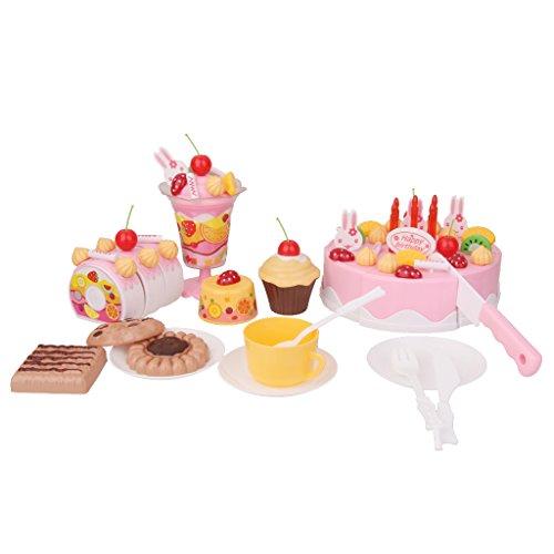 CUTICATE 75pcs Kids Pretend Play Spielzeug Kuchen Dessert Icecream Tee Set Geburtstag DIY Pink (Set Pink Spielküche)