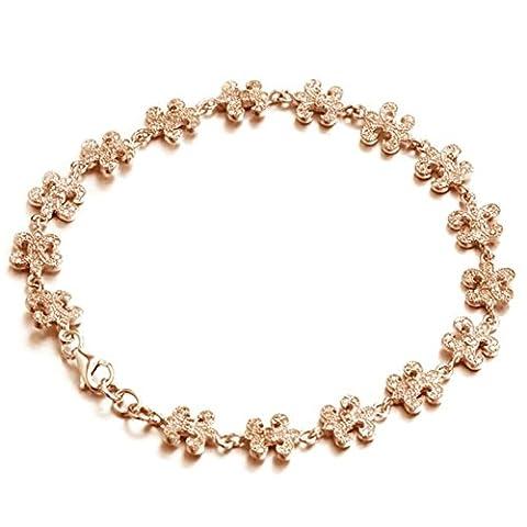Epinki Femme Bracelet Argent 925 Zircone Cubique Puzzle Bracelet Chaîne Clair Rose Or