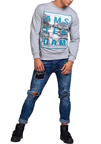 BOLF Herren Sweatshirt Pulli Langarmshirt Rundhals Classic ATHLETIC 0594 Grau_1248