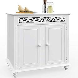 Deuba Wooden Cabinet »Nostalgia« Cupboard Doors Storage for Bathroom Kitchen Living Room White with Shelf