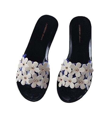 Auspicious beginning Pantofole piane floreali Nonslip Beach per le signore Nero