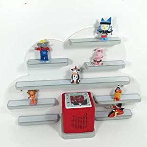 Tonie Board, Wolke in weiß mit grauen Regalen, ideale Aufbewahrung für Tonie Box und Tonie Figuren, Kinderzimmer Regal, Deko Board, Musikboxaufbewahrung, Hängeregal